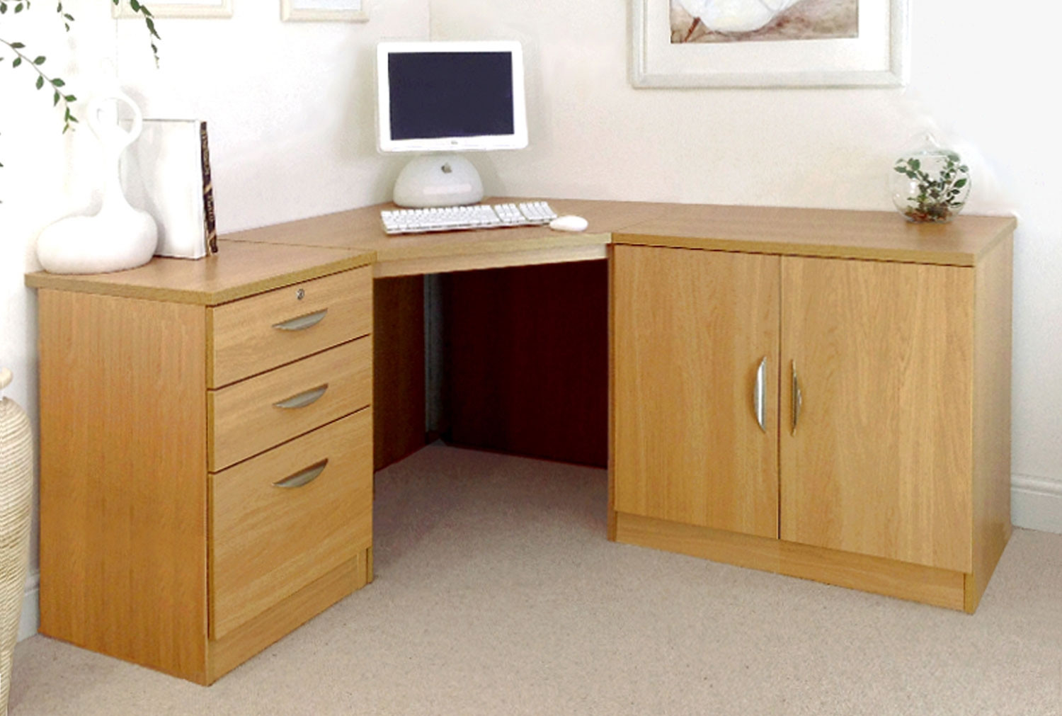 Small Office Corner Desk Set With 3 Drawers Cupboard Classic Oak Furniture At Work