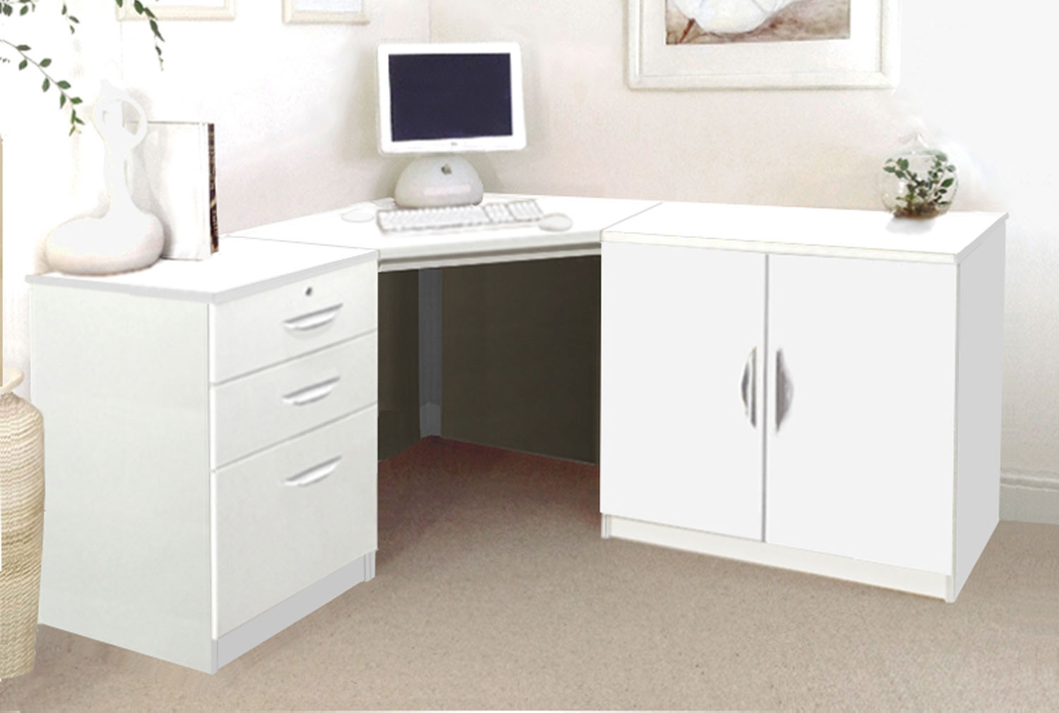 Small Office Corner Desk Set With 3 Drawers Cupboard White Furniture At Work