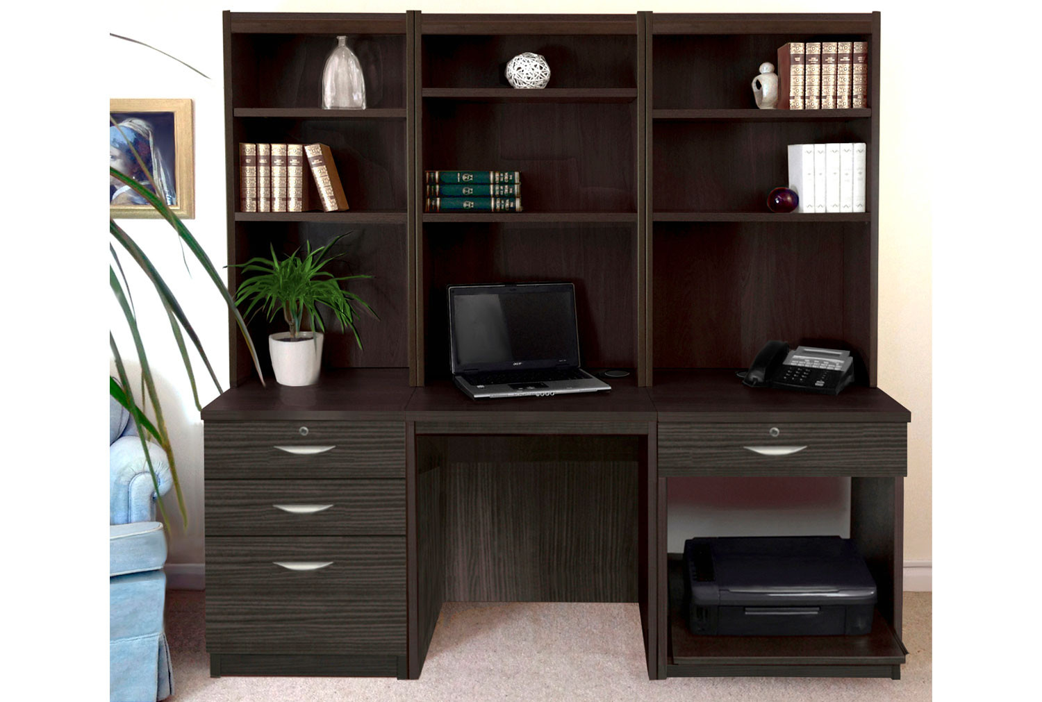 Small Office Desk Set With 3+1 Drawers, Printer Shelf & Hutch Bookcases (Black Havana)