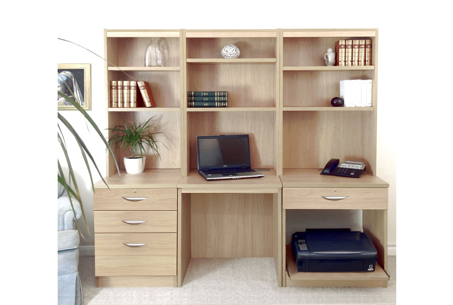Small Office Desk Set With 3 1 Drawers Printer Shelf Hutch Bookcases