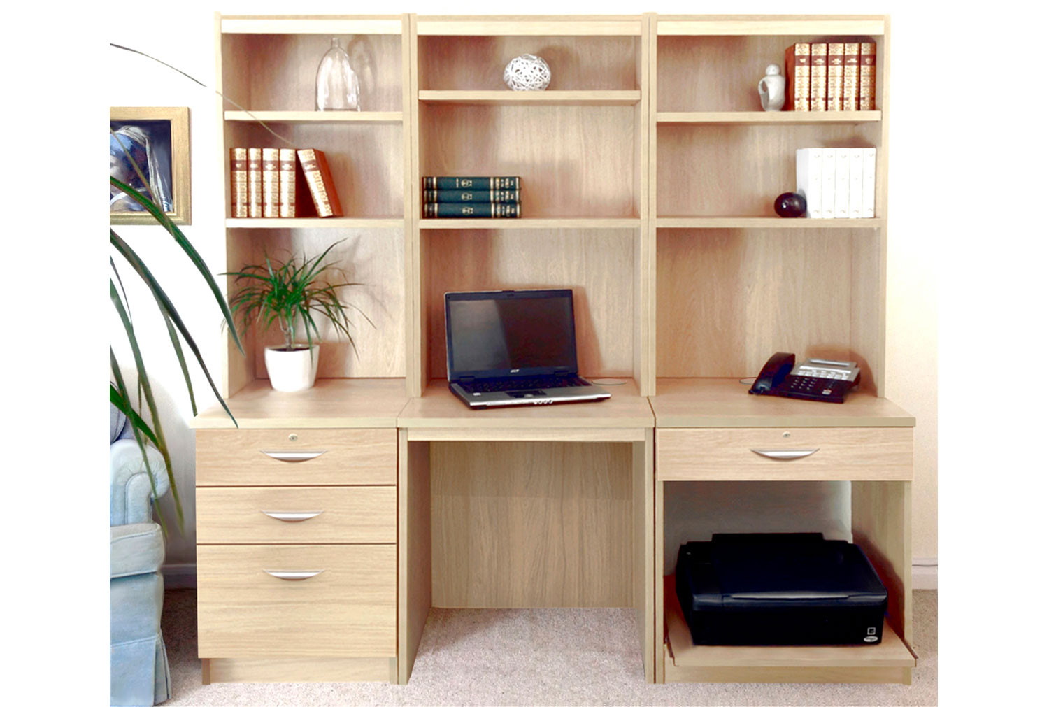 Small Office Desk Set With 3+1 Drawers, Printer Shelf & Hutch Bookcases (Sandstone)