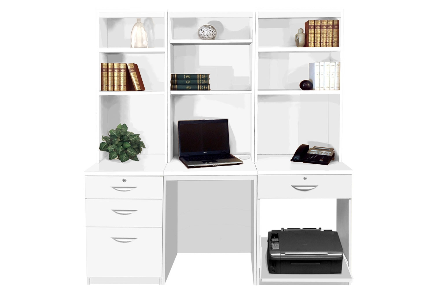 Small Office Desk Set With 3 1 Drawers Printer Shelf Hutch Bookcases White Furniture At Work