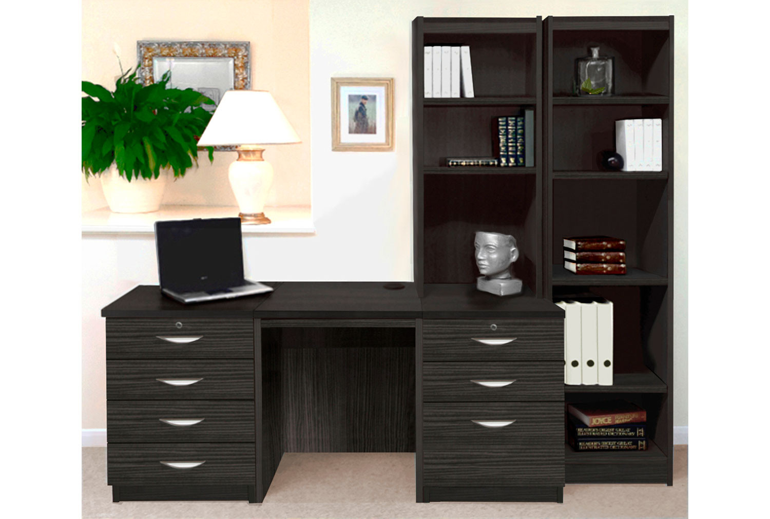 Small Office Desk Set With 4+3 Drawers & Bookcases (Black Havana)