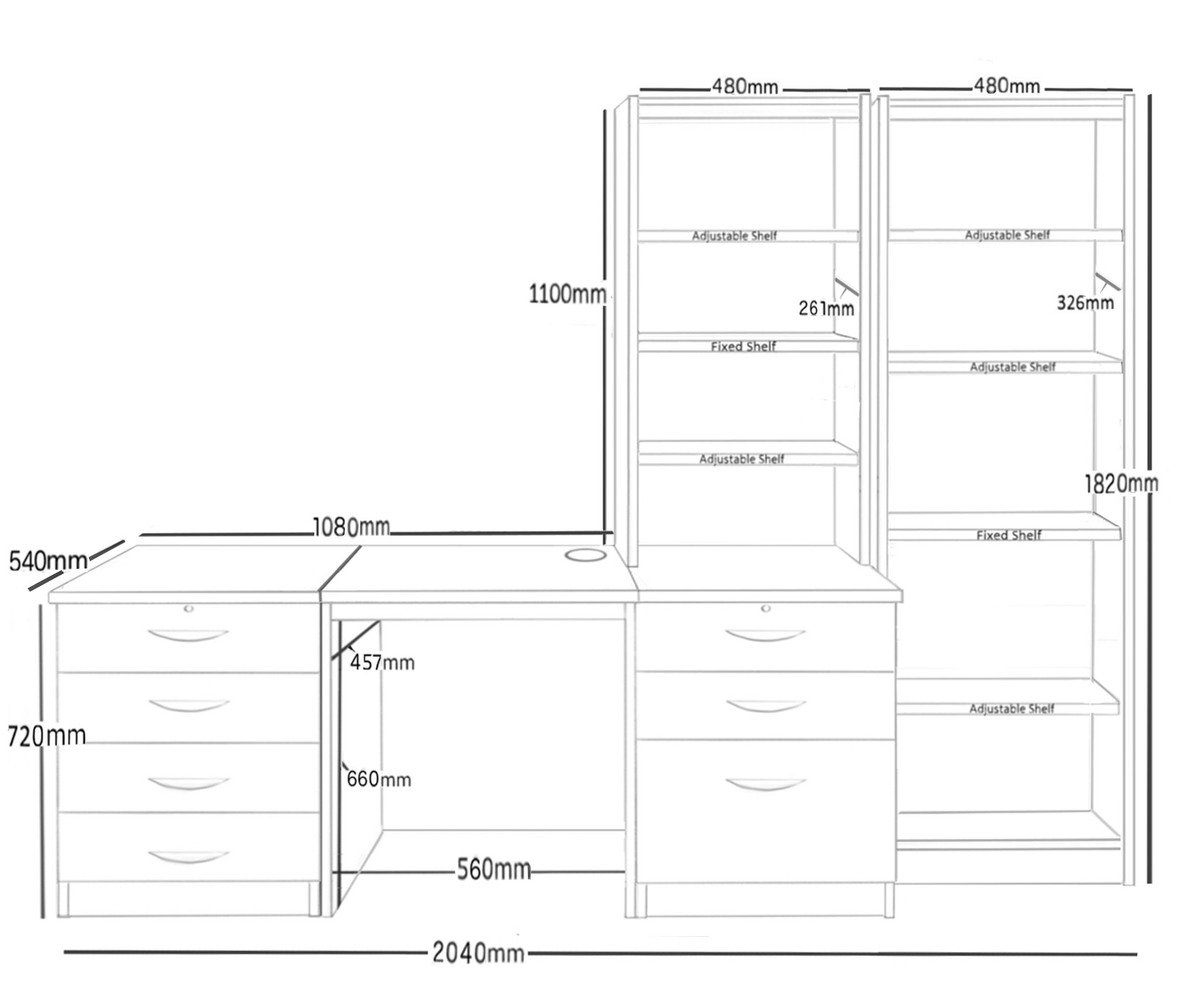Small Office Desk Set With 4+3 Drawers & Bookcases (White)