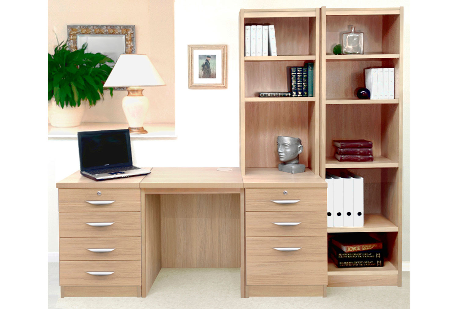 Small Office Desk Set With 4+3 Drawers & Bookcases (Sandstone)