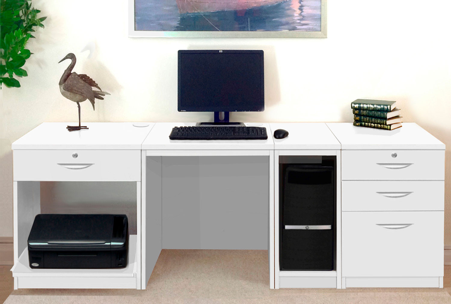 Small Office Desk Set With 1+3 Drawers, Printer Shelf & CPU Unit (White)