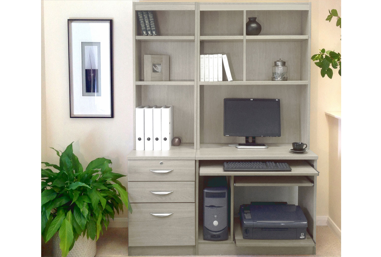 - Small Office Desk Set With 3 Drawers, Computer Workstation & Hutch