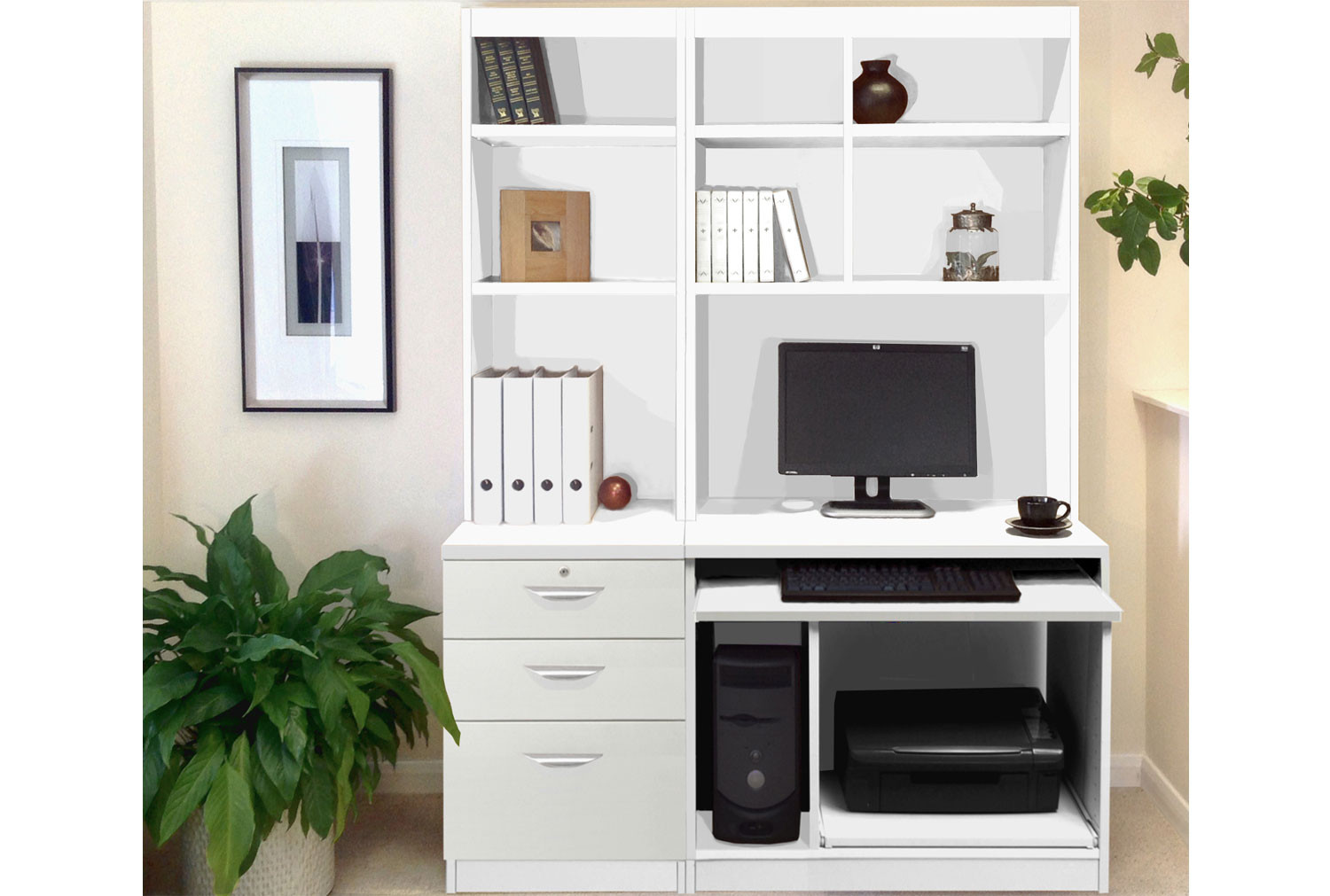 Small Office Desk Set With 3 Drawers Computer Workstation Hutch Bookcases White Furniture At Work