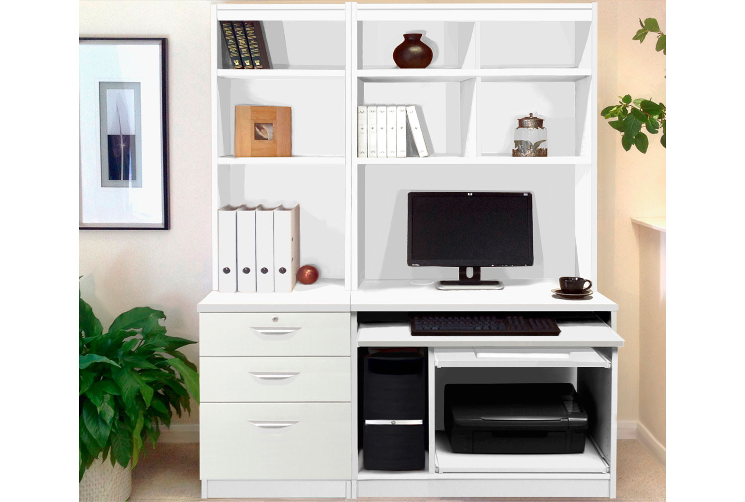 Small Office Desk Set With 3 Drawers, Computer Workstation & Hutch Bookcases (White)