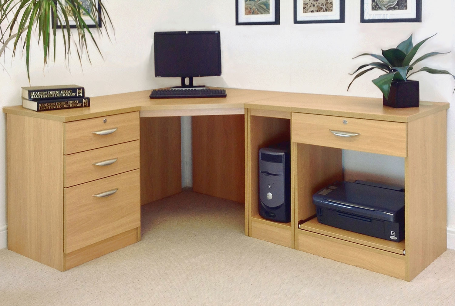 Small Office Corner Desk Set With 3 1 Drawers Printer