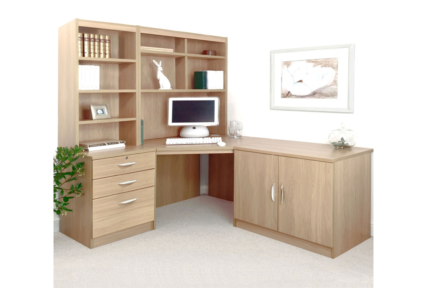 Small Office Corner Desk Set With 3 Drawers Cupboard Hutch Bookcases Sandstone Furniture At Work