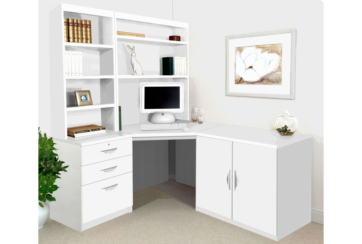 Small Office Corner Desk Set With 3 Drawers Cupboard Hutch Bookcases White Furniture At Work