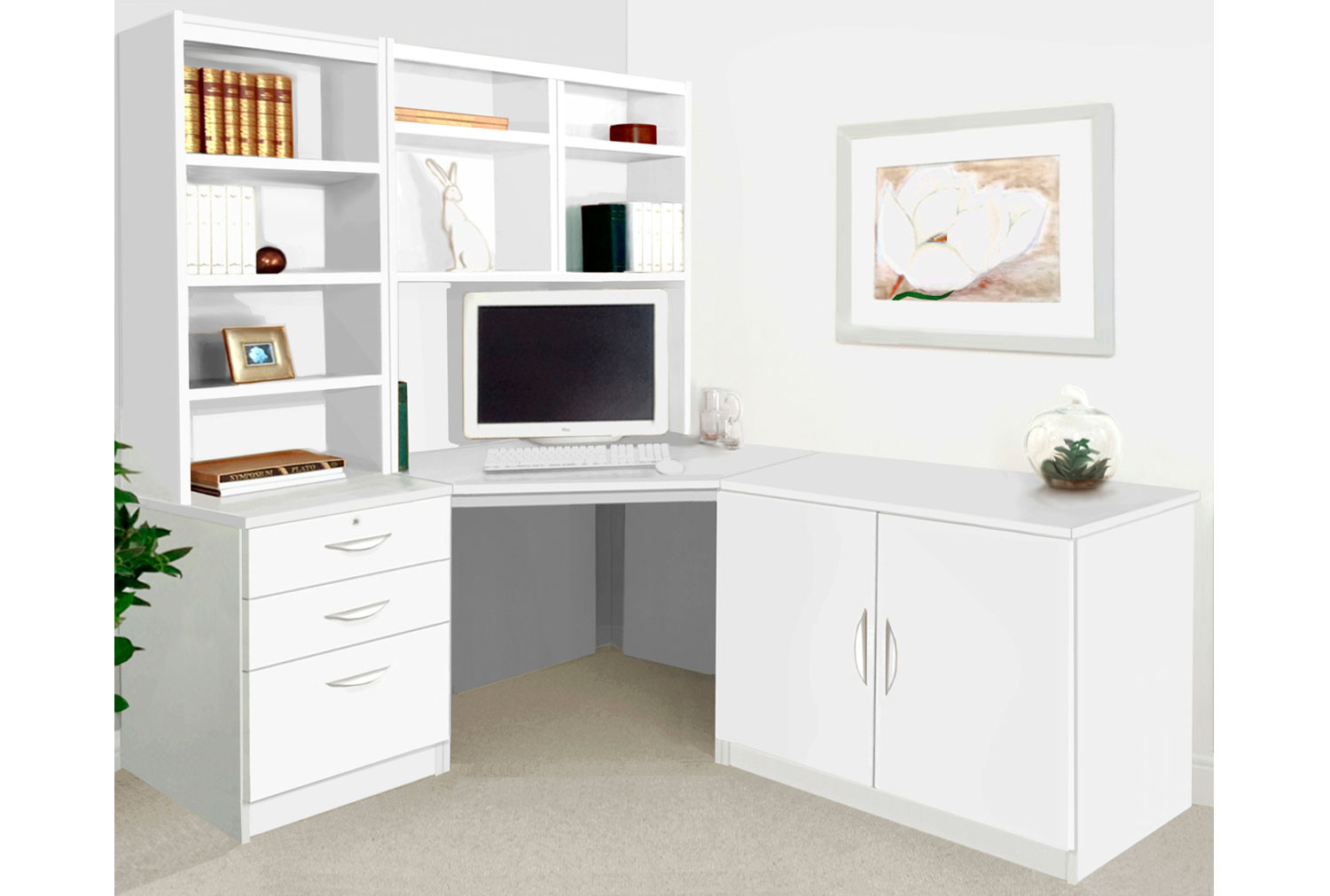 Small Office Corner Desk Set With 3 Drawers, Cupboard & Hutch Bookcases (White)
