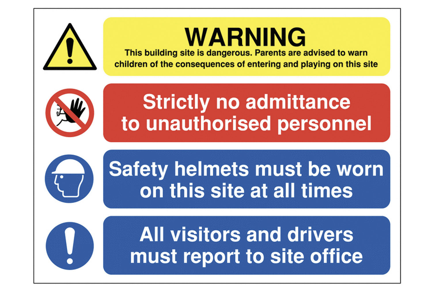 Warning This Building Site Is Dangerous Multi Message Construction Sign