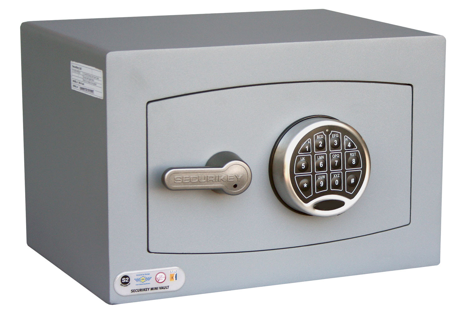Securikey Mini Vault Silver Cash Safe Size 0 With Electronic Lock (18ltrs)