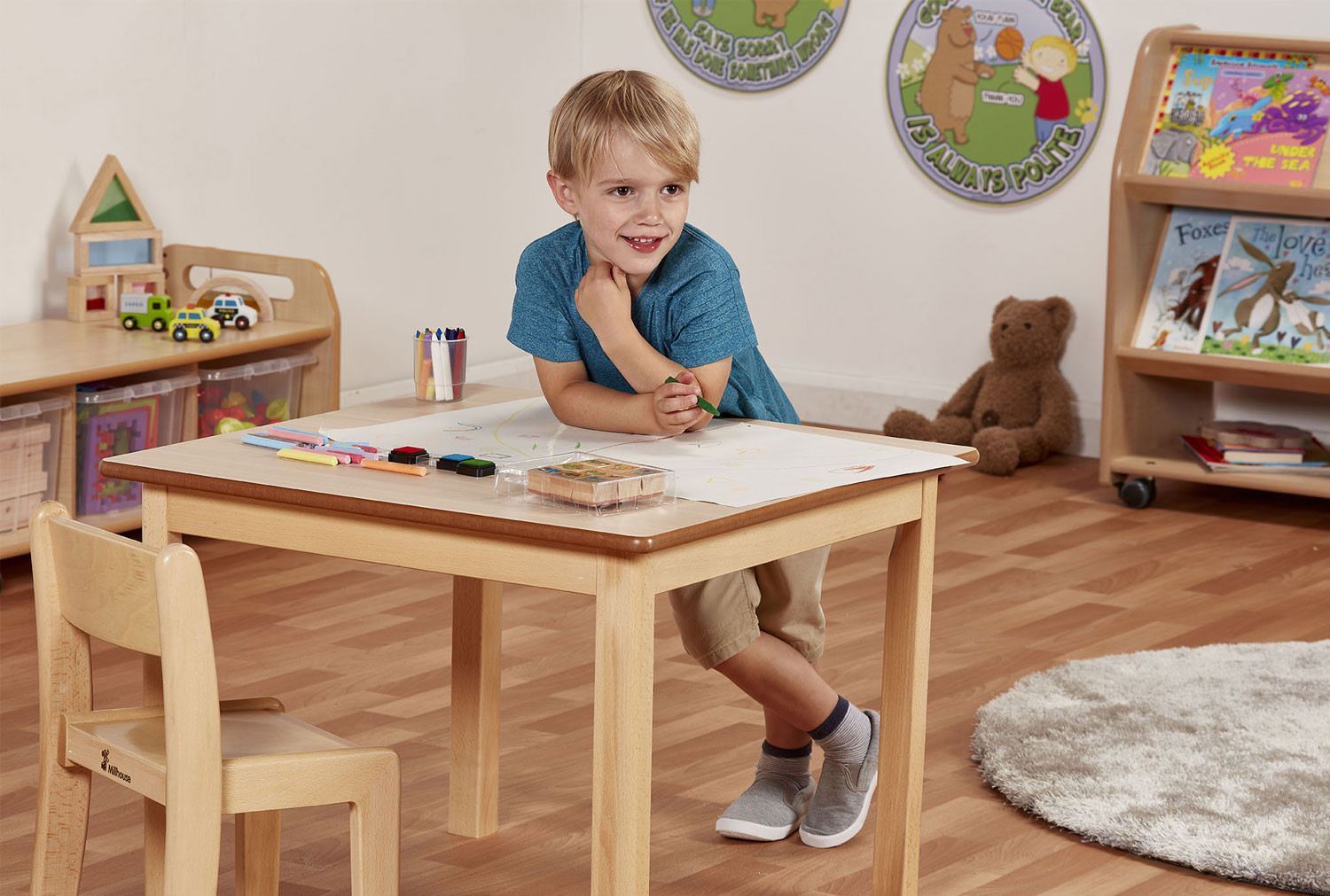 Square Wooden Classroom Table