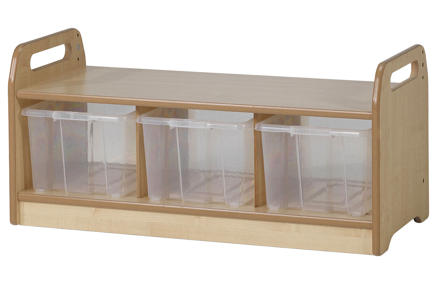 Playscapes Low Level Storage Bench With 3 Clear Tubs