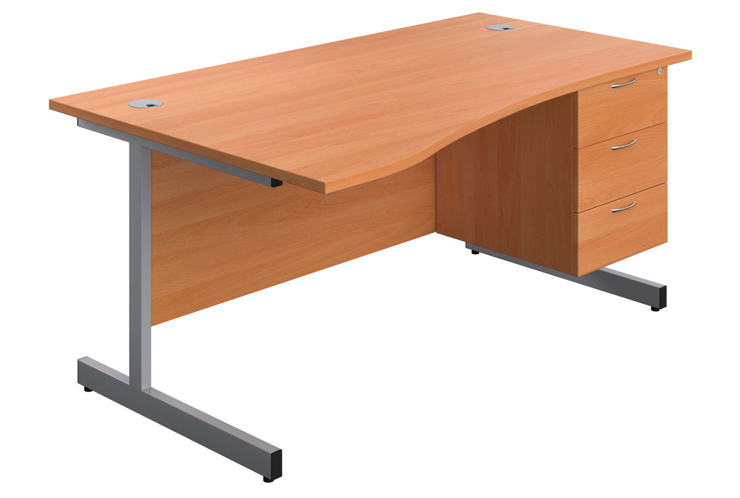 Proteus I Wave Desk With 3 Drawers