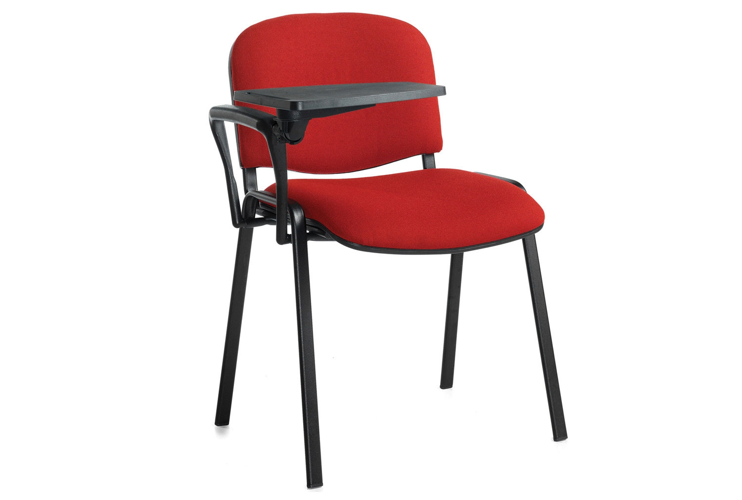 Pack Of 4 Black Frame Conference Chairs With Writing Tablets