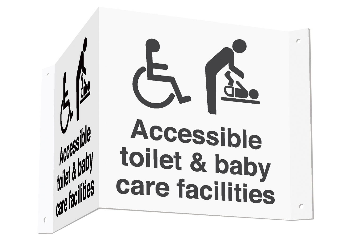 Accessible Toilet & Baby Care Facilities 3D Projecting Washroom Sign (Black Text)